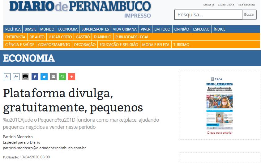 imagem print da matéria no veículo original diário de pernambuco